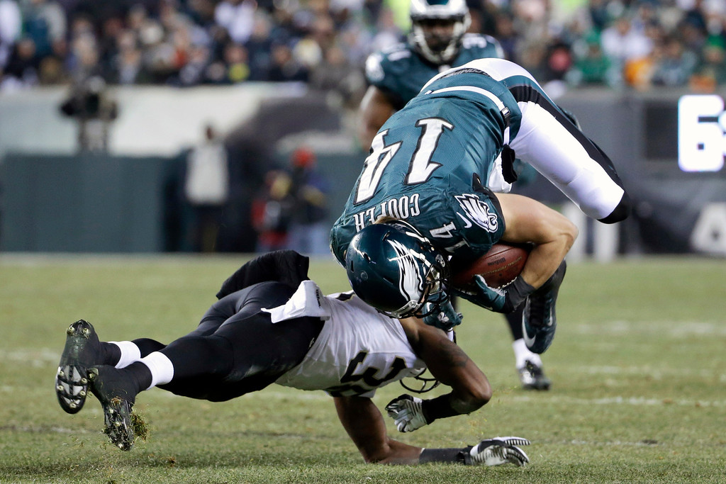 . Philadelphia Eagles\' Riley Cooper, right, is upended on a hit by New Orleans Saints\' Rod Sweeting during the second half of an NFL wild-card playoff football game, Saturday, Jan. 4, 2014, in Philadelphia. (AP Photo/Matt Rourke)