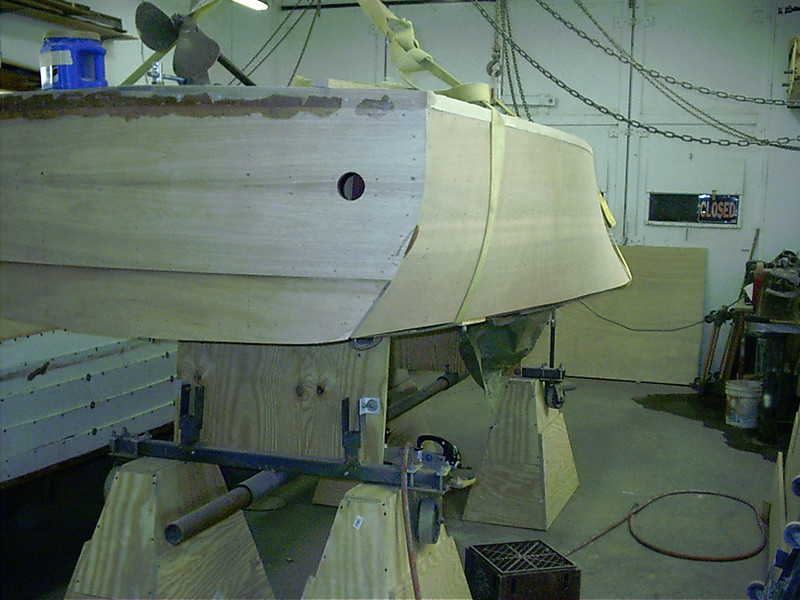 Rear port view of rough sanded transom and side. Ready to be plugged.