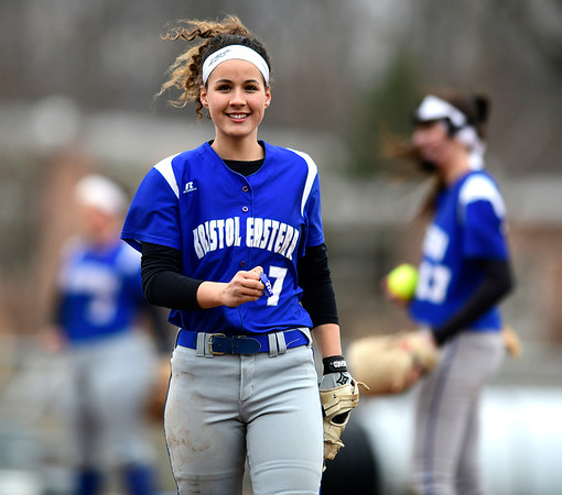 4/9/2019 Mike Orazzi | Staff Bristol Eastern's Lauren Aparo (7) during Tuesday's softball game with Southington in Bristol.