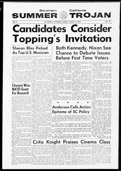 Summer Trojan, Vol. 10, No. 14, August 16, 1960