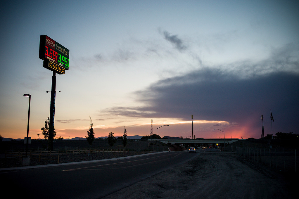 . The sun goes down near the trucks stop and casino in Lovelock, Nevada.  The small town has been put on the map since Simpson was locked up at the Nevada Prison near town.    (Photo by David Crane/Los Angeles Daily News.)