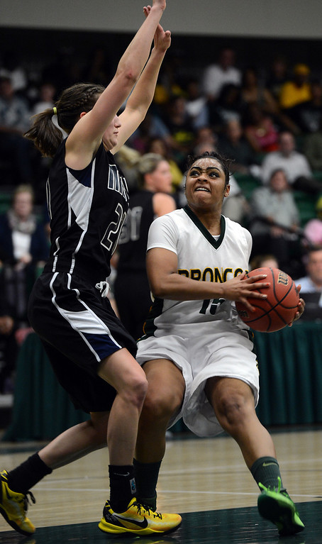 . Cal Poly Pomona\'s Tyler Woods looks for a shot against Montana State Billings\' Bobbi Knudsen during the NCAA Division II West Regional championship game at Cal Poly Pomona in Pomona, CA, Monday, March 17, 2014. (Photo by Jennifer Cappuccio Maher/Inland Valley Daily Bulletin)
