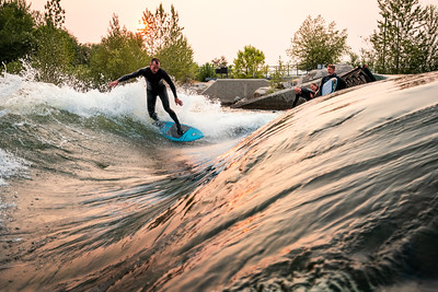 Smoky Sunrise Surf at the Whitewater Park