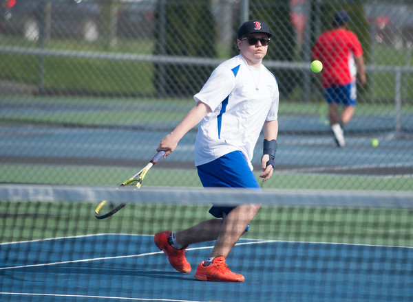 04/17/19 Wesley Bunnell | Staff Southington boys tennis hosted Berlin on Wednesday afternoon at Southington High School. Southington's Nate Zmarlicki.