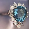 3.30ctw Aquamarine and Diamond Cluster Ring 32
