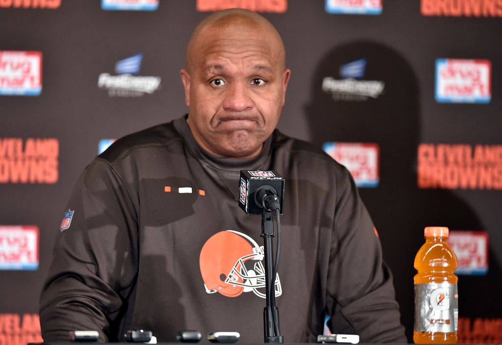 . Cleveland Browns head coach Hue Jackson answers questions after the Jacksonville Jaguars defeated his team in an NFL football game, Sunday, Nov. 19, 2017, in Cleveland. (AP Photo/David Richard)