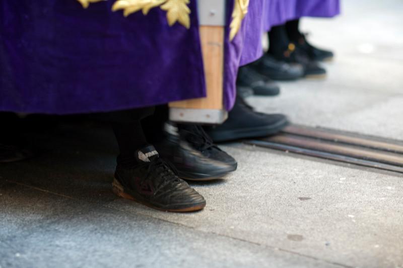 Feet of costaleros or float bearers, Holy Week 2008, Seville, Spain