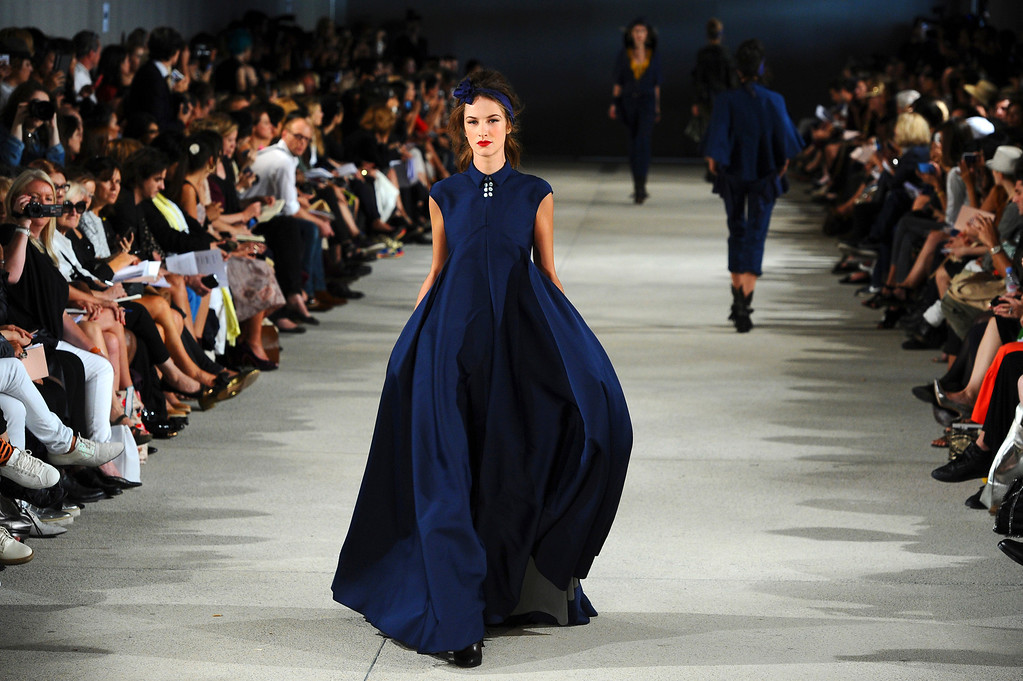 . A model presents a creation as part of French fashion designer Alexis Mabille\'s ready-to-wear Spring/Summer 2014 fashion collection presented in Paris, Wednesday, Sept. 25, 2013. (AP Photo/Zacharie Scheurer)