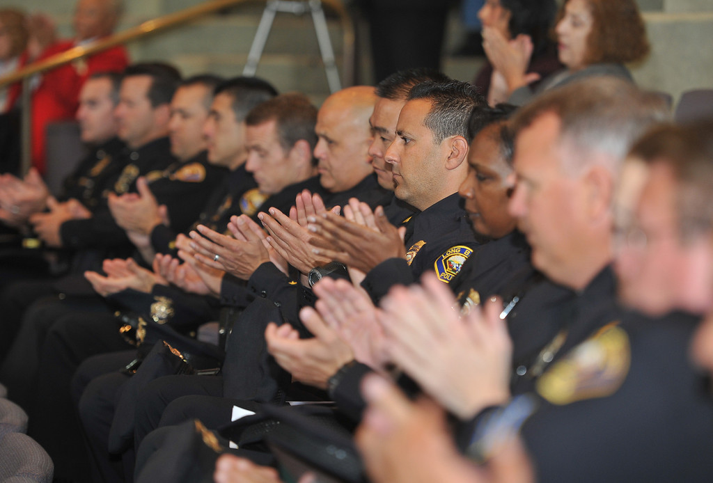 . 5/7/13 - Members of the Long Beach Police and Fire Departments during the annual Police & Fire Memorial Service to honor those individuals who died in the line of duty while serving the Long Beach community. Photo by Brittany Murray / Staff Photographer