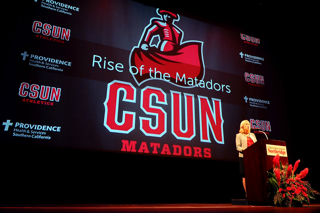 . CSUN President Dianne F. Harrison delivers her third annual convocation address in the Valley Performing Arts Center Thursday, August 21, 2014.(Andy Holzman/Daily News Staff Photographer)
