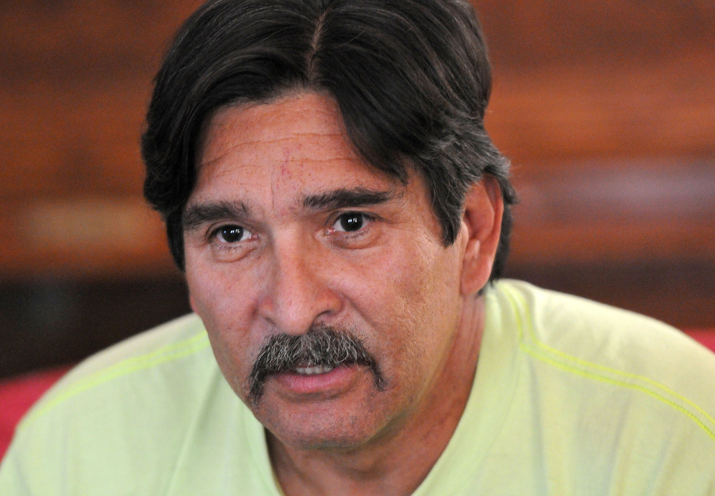 . (John Valenzuela/Staff Photographer) Ronald Salazar of Redlands has been struggling to find a place to live, he and his family are currently on the verge of being evicted once again.  Salazar has been out of work for over a month and is trying to find a way to keep a roof over is family\'s head.