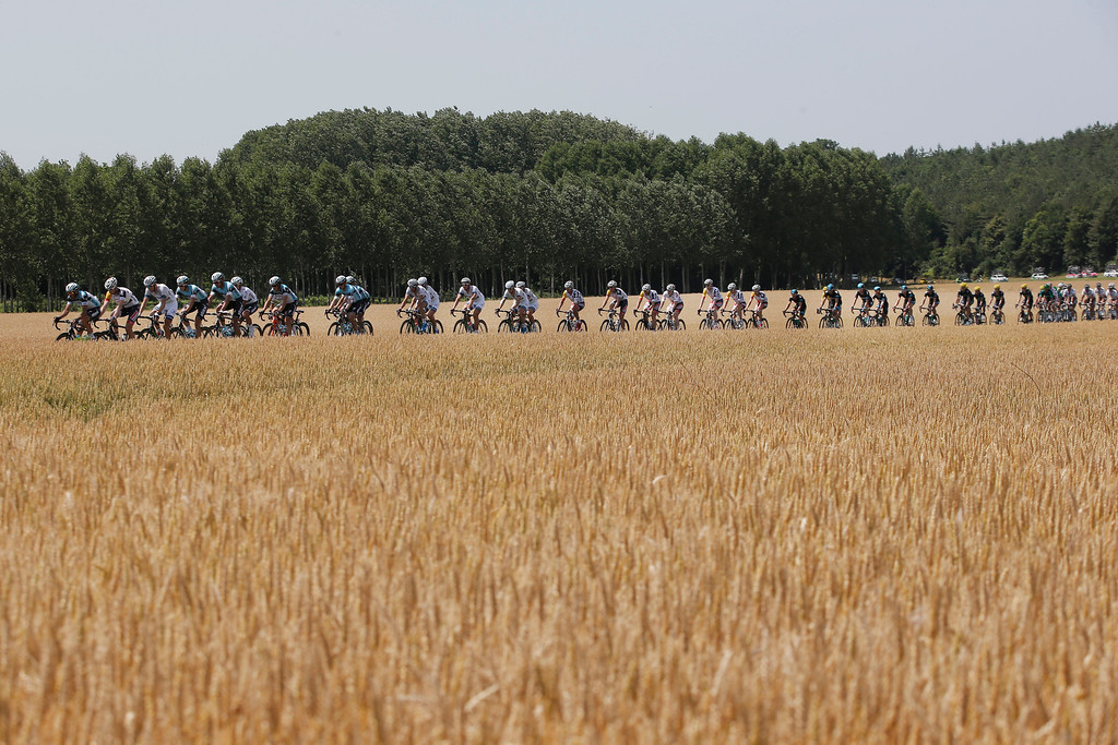 . The pack passes fields of wheat near Nouans-les-Fontaines during the thirteenth stage of the Tour de France cycling race over 173 kilometers (108.1 miles) with start in in Tours and finish in Saint-Amand-Montrond, western France, Friday July 12 2013. (AP Photo/Christophe Ena)