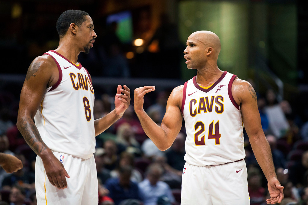 . Cleveland Cavaliers\' Channing Frye (8) talks with Richard Jefferson (24) during a timeout against the Indiana Pacers during the fourth quarter of an NBA preseason basketball game, Friday, Oct. 6, 2017, in Cleveland. The Pacers won 106-102. (AP Photo/Scott R. Galvin)
