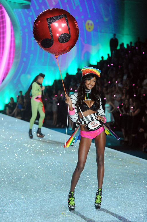 . Model Jasmine Tookes walks the runway at the 2013 Victoria\'s Secret Fashion Show at Lexington Avenue Armory on November 13, 2013 in New York City.  (Photo by Jamie McCarthy/Getty Images)