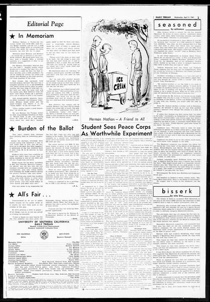 Daily Trojan, Vol. 52, No. 99, April 05, 1961