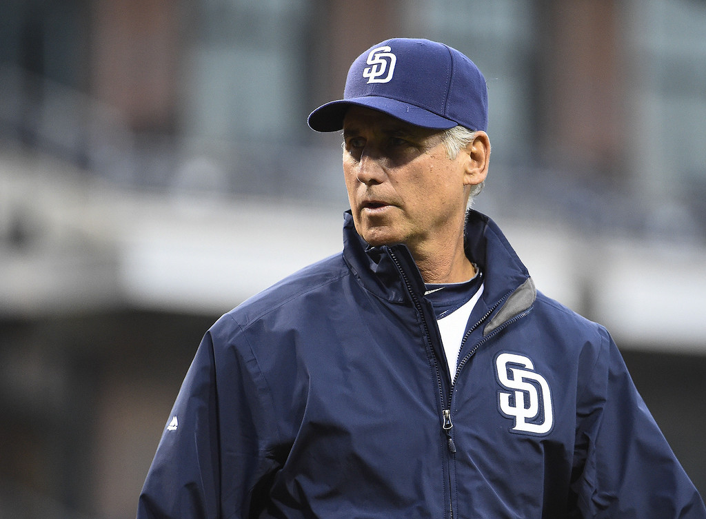 . Bud Black #20 manager of the San Diego Padres walks off the field before a baseball game against the Colorado Rockies at Petco Park April 14, 2014 in San Diego, California.  (Photo by Denis Poroy/Getty Images)