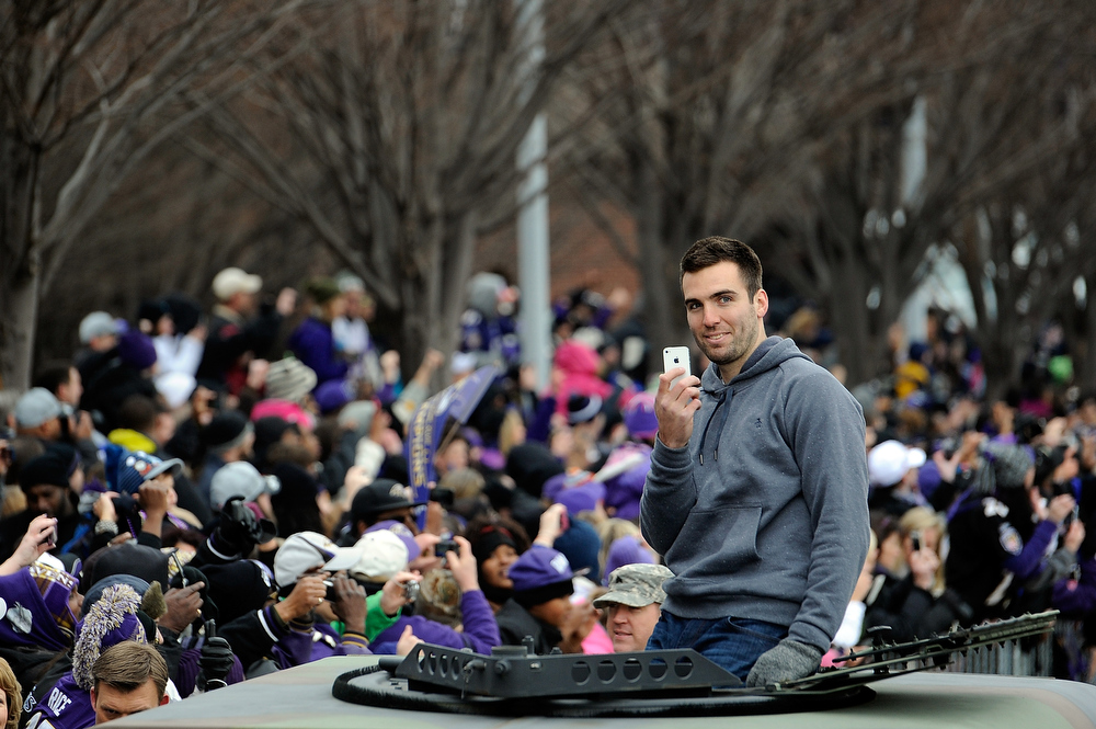 Description of . MVP Quarterback Joe Flacco #5 of the Baltimore Ravens celebrates with his teammates as they celebrate during their Super Bowl XLVII victory parade at M&T Bank Stadium on February 5, 2013 in Baltimore, Maryland. The Baltimore Ravens captured their second Super Bowl title by defeating the San Francisco 49ers.  (Photo by Patrick McDermott/Getty Images)