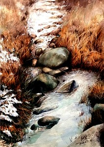 """""""First snow"""" (watercolor) by Shaosheng Cheng"""