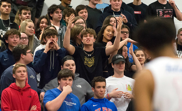 03/09/20 Wesley Bunnell | StaffrrSt. Paul boys basketball vs Maloney at St. Paul Catholic High School on Monday March 9, 2020. Fans react to a call.