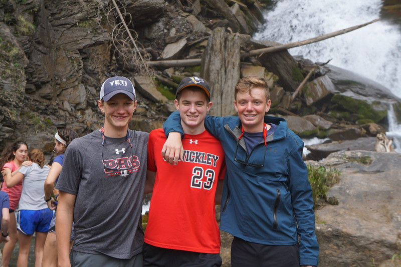 Cap, Henry, and Landen at the falls on the Pass Trip