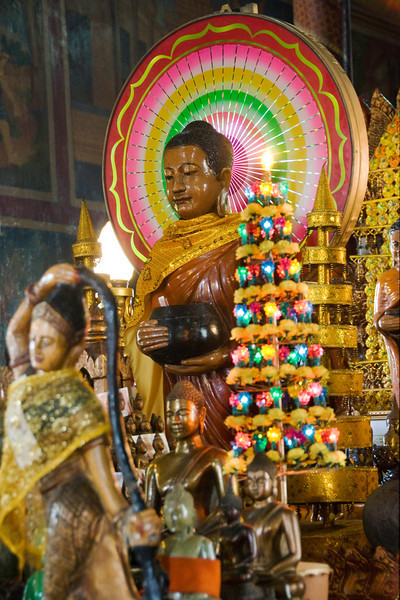 Many Cambodian Buddhas have this colorful circle behind them
