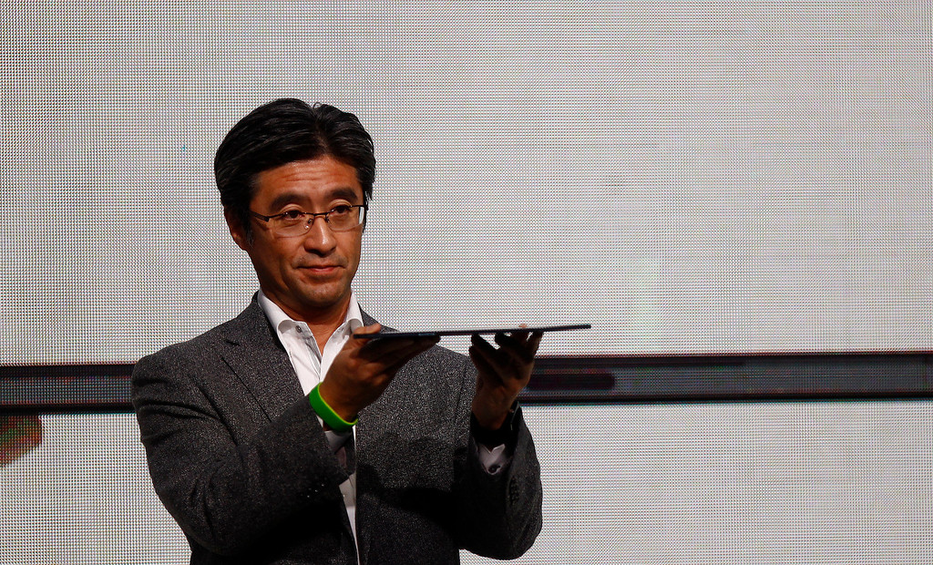 . President and CEO of Sony Mobile Communications Kunimasa Suzuki presents the Xperia Z2 tablet during a press conference at the Mobile World Congress in Barcelona, on February 24, 2014.  The Mobile World Congress runs from the 24 to 27 February where participants and visitors alike can attend conferences, network, discover cutting-edge products and technologies at among the 1,700 exhibitors as well as seek industry opportunities and make deals.    QUIQUE GARCIA/AFP/Getty Images