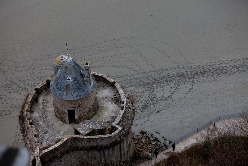 Mont St-Michel is surrounded by tidal flats. It was inaccessible during high tide.