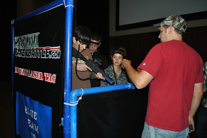 Student's play Laser tag in the Tucker student center.