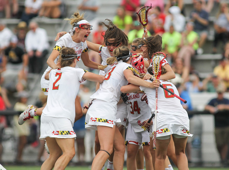 May 26, 2019: Maryland players celebrate their 14th championship after NCAA Womens Lacrosse Championship matchup between Boston College and University of Maryland in Baltimore. Photos by Chris Thompkins/Prince Georges Sentinel