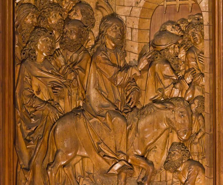Rothenburg. St. Jakob  Heiligblutaltar, li. Flügel: Einzug in Jerusalem, Detail