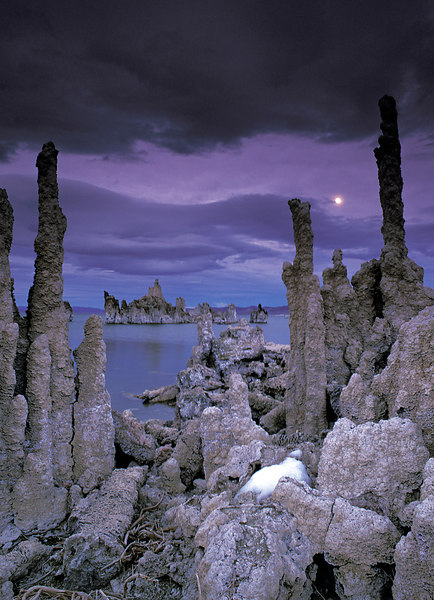 Moon rising over Tufa formations, Mono Lake, California