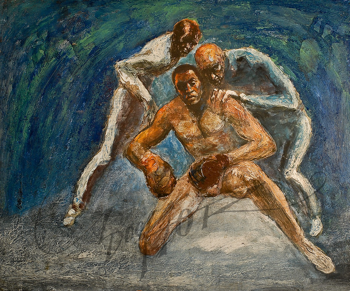 Boxer with 2 coaches by Irv Docktor