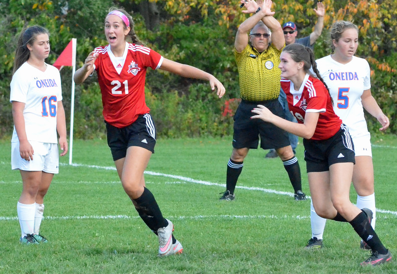 KYLE MENNIG - ONEIDA DAILY DISPATCH Vernon-Verona-Sherrill's Alexa Kiser (21) reacts after scoring a goal against Oneida during their Section III Class B playoff match in Oneida on Tuesday, Oct. 18, 2016.