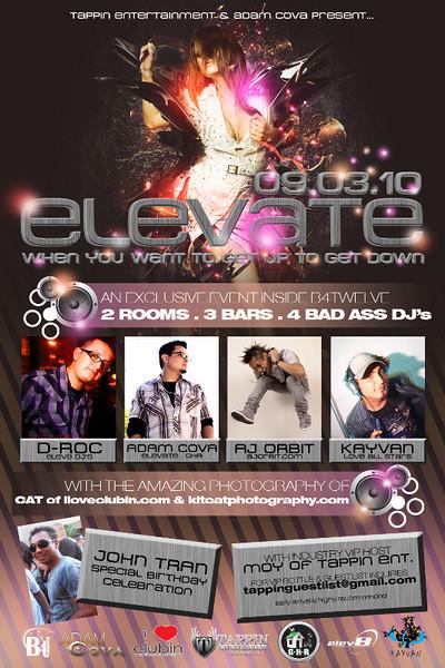 Tapping Entertainment & Adam Cova presents Elevate @ B4Twelve 9.3.10