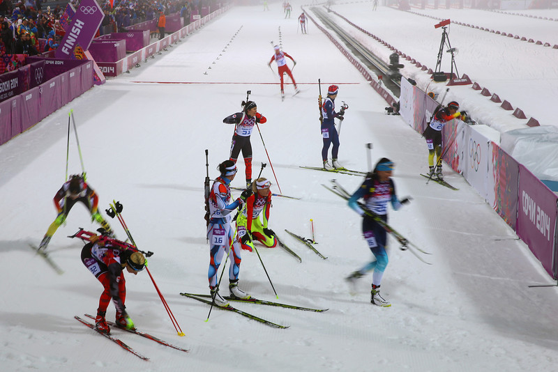 . Skiers finish the Women\'s 10 km Pursuit during day four of the Sochi 2014 Winter Olympics at Laura Cross-country Ski & Biathlon Center on February 11, 2014 in Sochi, Russia.  (Photo by Doug Pensinger/Getty Images)
