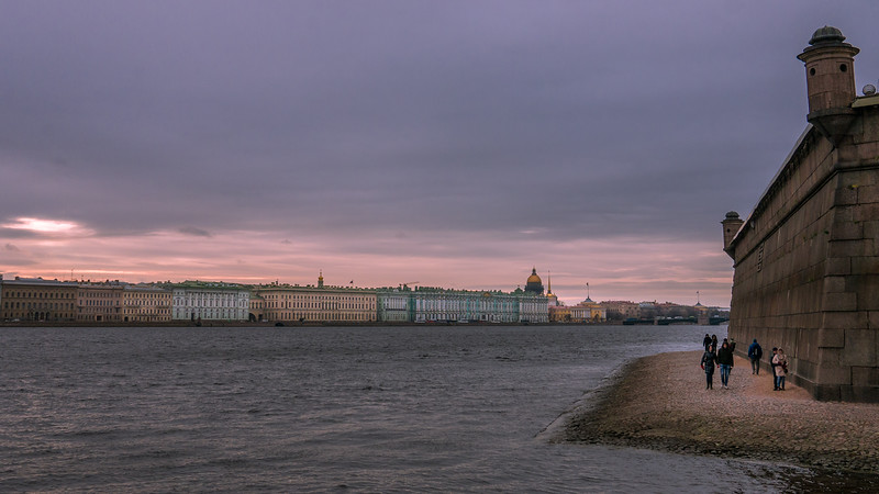 Views of the city at sunset from the Peter and Paul Fortress in  St. Petersburg, Russia
