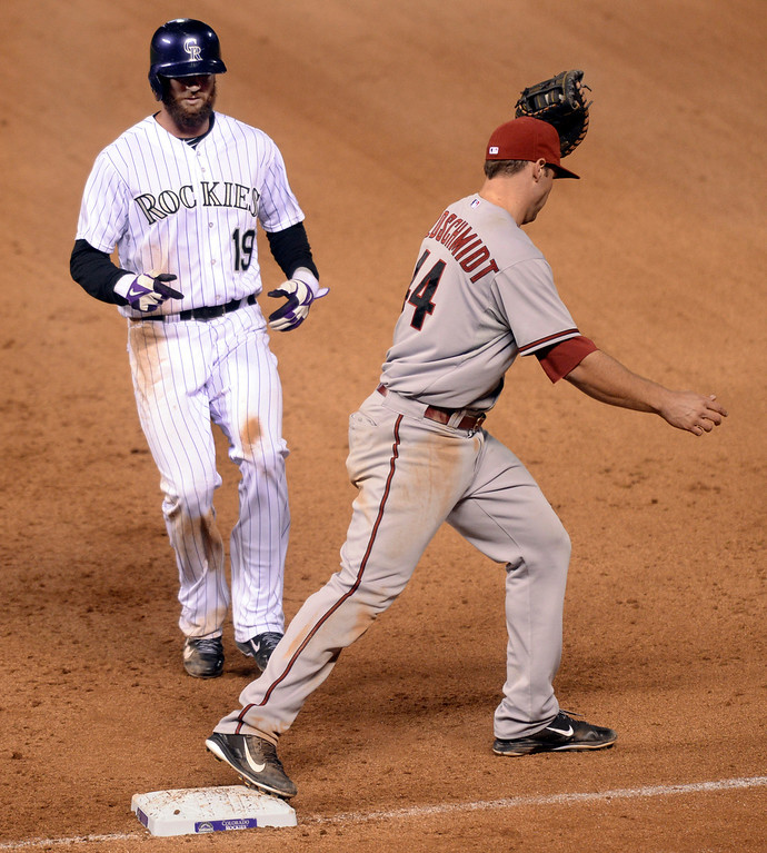 . DENVER, CO - APRIL 5:  Colorado baserunner Charlie Blackmon was caught off first base when DJ LeMahieu flew out to center field in the seventh inning. The Colorado Rockies defeated the Arizona Diamondbacks 9-4 Saturday night, April 5, 2014 in Denver. (Photo by Karl Gehring/The Denver Post)