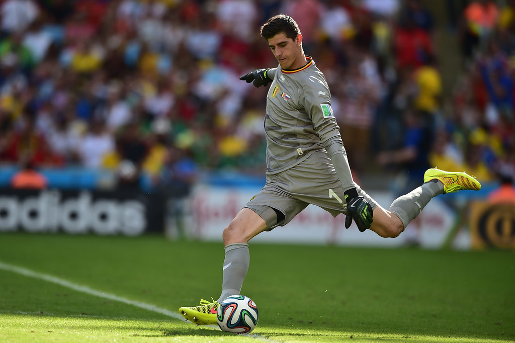 . Belgium\'s goalkeeper Thibaut Courtois kicks the ball during the Group H football match between Belgium and Russia at The Maracana Stadium in Rio de Janeiro on June 22, 2014, during the 2014 FIFA World Cup. AFP PHOTO / GABRIEL BOUYS