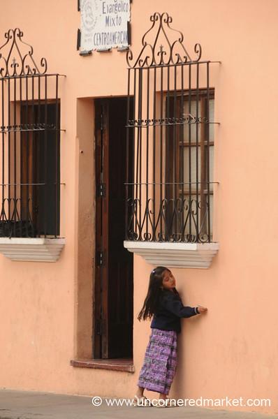 Guatemalan Girl Waiting - Antigua, Guatemala