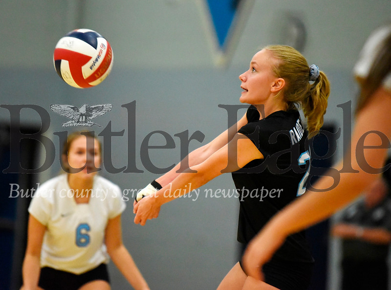 Harold Aughton/Butler Eagle: Seneca Valley senior Abby Adams, #23, returns a server during last night's match against North Hills.