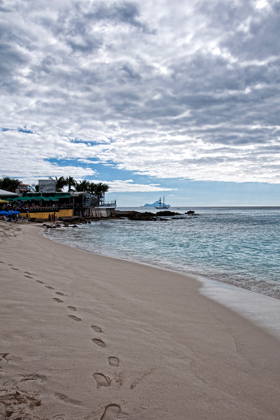 A look back at the Sunset Bar on Maho Beach, St. Maarten.