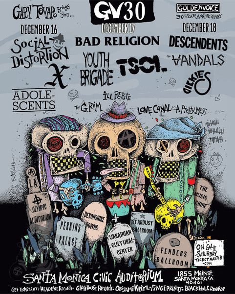 Flyer - GV30 - Bad Religion - T.S.O.L - Youth Brigade - Sin 34 - The Grim - A Pretty Mess - 30 Years of Goldenvoice at The Santa Monica Civic Auditorium - Santa Monica, CA - December 17, 2011