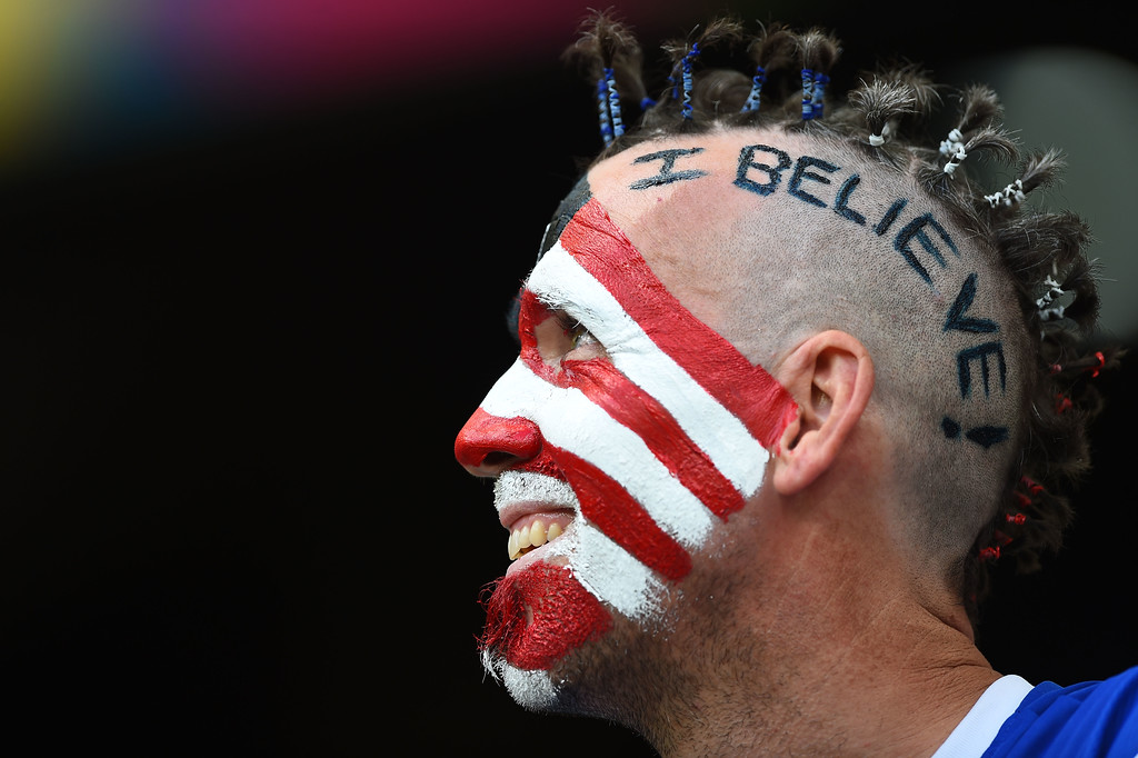 . A fan of the United States enjoys the atmosphere prior to the 2014 FIFA World Cup Brazil Round of 16 match between Belgium and the United States at Arena Fonte Nova on July 1, 2014 in Salvador, Brazil.  (Photo by Laurence Griffiths/Getty Images)