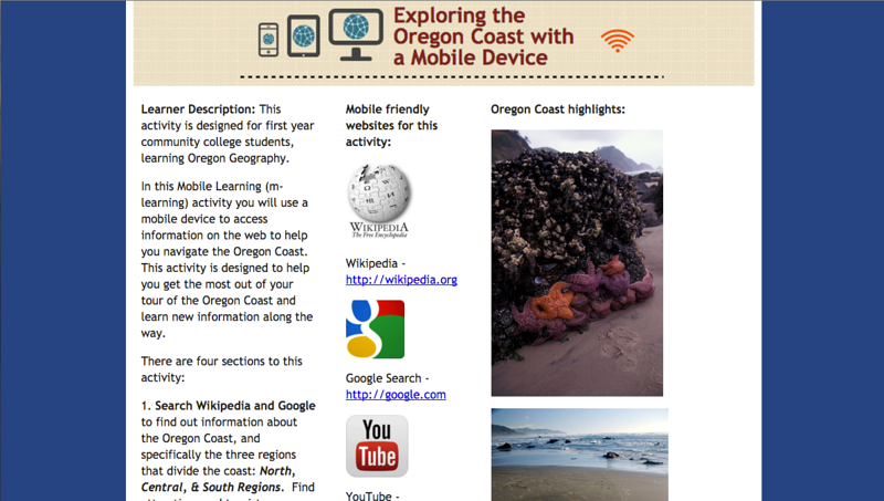 Exploring the Oregon Coast - Mobile Learning Activity