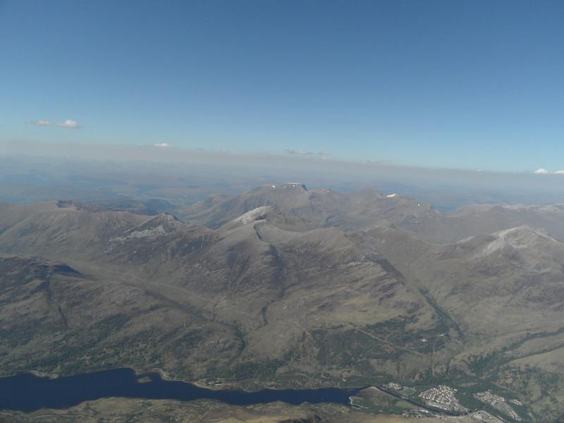 Loch Leven and Kinlochleven. Ben Nevis in the distance.