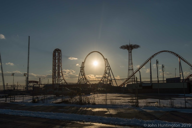 Winter sunset at Coney Island, Brooklyn.