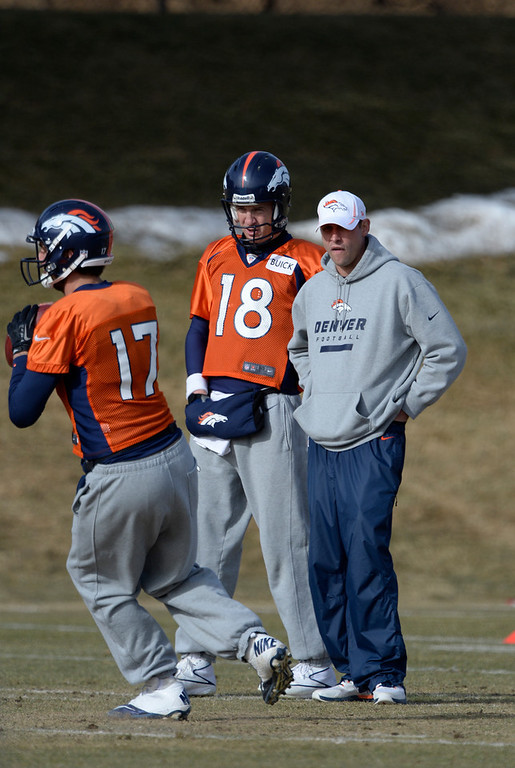. Denver Broncos quarterback Peyton Manning (18) talks with Offensive Coordinator Adam Gase as they watch Denver Broncos quarterback Brock Osweiler (17) run through drills during practice January 16, 2014 at Dove Valley. The Denver Broncos are preparing for their AFC Championship game against the New England Patriots at Sports Authority Field.  (Photo by John Leyba/The Denver Post)