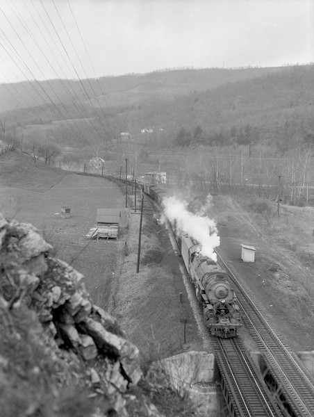 2018.15.N79.6213G--ed wilkommen 3x4 neg--N&W--steam locomotive 2-8-8-2 Y6b 2188 with coal freight train--location unknown--no date