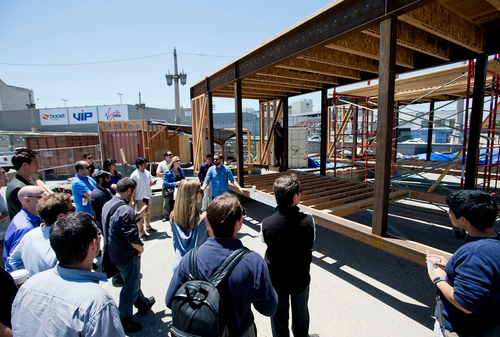 . Sci-Arc and Caltech team give a tour of their sustainable home, DALE, a solar-powered house on rails at Southern California Institute in Los Angeles on Wednesday, May 29, 2013. DALE will be entered in the Solar Decathlon energy competition in October. (SGVN/Staff photo by Watchara Phomicinda)