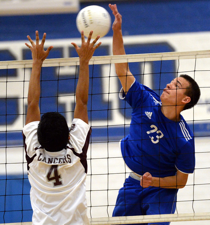 . El Rancho\'s Dimitric Lozano (#23) scores as they play Bell Gardens in their non-league game at El Rancho High School in Pico Rivera on Friday March 28, 2014. Bell Gardens defeated El Rancho 3-2 games. (Staff Photo by Keith Durflinger/Whittier Daily News)